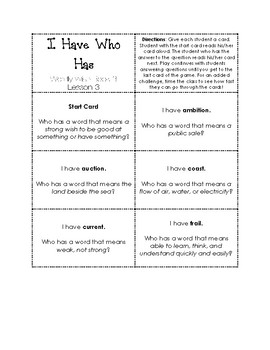 I Have Who Has Game Wordly Wise 3000 Book 3 Lesson 3