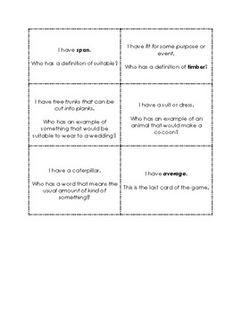 I Have Who Has Game Wordly Wise 3000 Book 3 Lesson 4