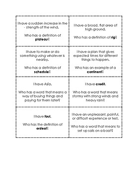 I Have Who Has Game Wordly Wise 3000 Book 3 Lesson 6