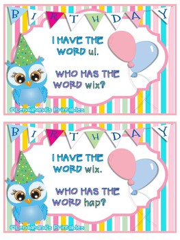 I Have Who Has Game by Ms. Lendahand (BIRTHDAY Theme)