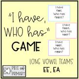 I Have Who Has Game: ea, ee vowel teams