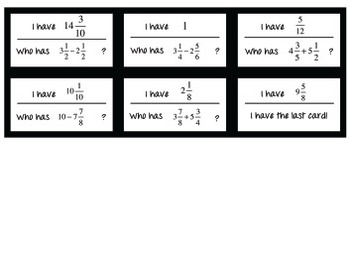 """I Have, Who Has?"" Game for Mixed Numbers"