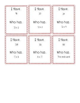 I Have Who Has Game for Multiplication Facts 10-12
