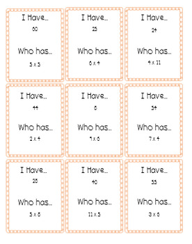 I Have Who Has Game for Multiplication Facts 4-6