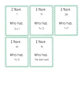 I Have Who Has Game for Multiplication Facts 7-9