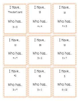 I Have Who Has Game for Multiplication Facts Bundle