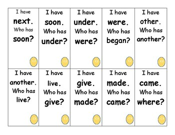 I Have, Who Has? Game for SnapWords List C