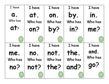 I Have, Who Has? Game for SnapWords Lists A,B,C,D, and E