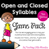Open and Closed Syllables Game Pack