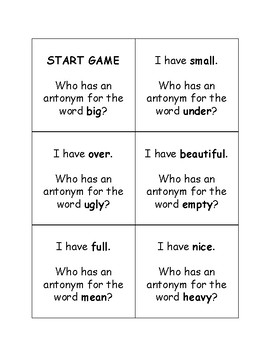 I Have Who Has Game with Antonyms