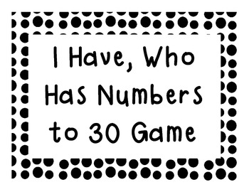 I Have Who Has Game with Numbers to 30