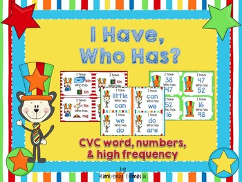 """I Have, Who Has"" Games: CVC, Numbers, & High Frequency"