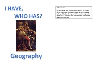 I Have Who Has Geography Review Game: Map Terms, Land and Water Forms