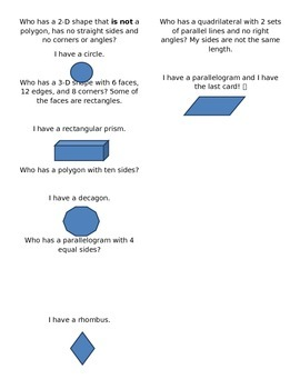 """""""I Have, Who Has"""" Geometry (2-D, 3-D, and angles)"""