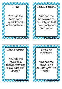 I Have, Who Has - Geometry Terminology