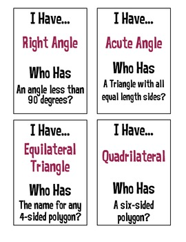I Have, Who Has? Geometry Vocabulary Gr 4-6