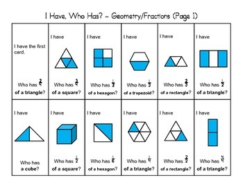 """""""I Have, Who Has"""" - Geometry and Fractions (2nd Grade)"""