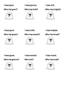 I Have Who Has Ghost Digraphs