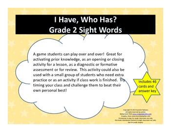 I Have, Who Has - Grade 2 Sight Words