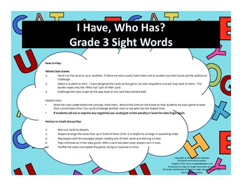 I Have, Who Has - Grade 3 Sight Words Game