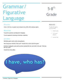 I Have, Who Has....? Grammar/Figurative Language