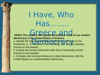 I Have, Who Has Greece and Democracy THIRD GRADE