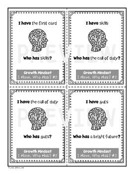 I Have, Who Has Growth Mindset Card Set 2