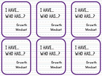 I Have, Who Has - Growth Mindset Game