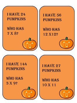 I Have Who Has Halloween Multiplication