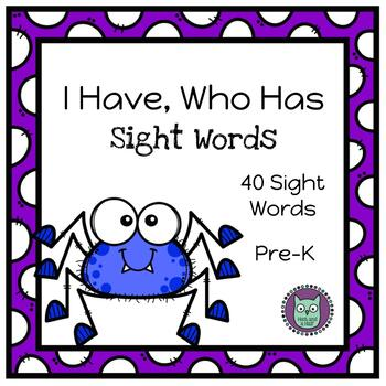 I Have, Who Has? A Spider Themed Dolch Sight Word Game