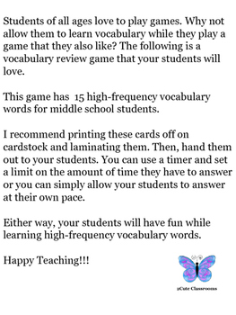 Vocabulary I Have...Who Has...Game