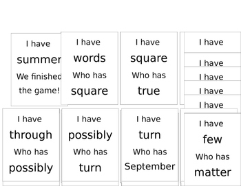 I Have Who Has High Frequency Words Grade 3