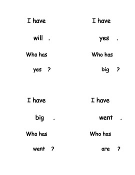 I Have, Who Has...? High Frequency Words set 3