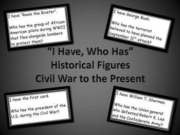 """""""I Have, Who Has"""" Historical Figures Civil War to the Present"""