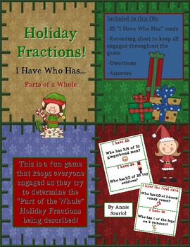 I Have Who Has: Holiday Fractions! Parts of a Whole Game Math CCSS