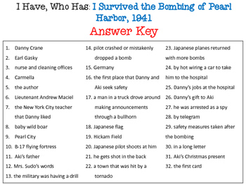 I Have Who Has? I Survived the Bombing of Pearl Harbor, 1941