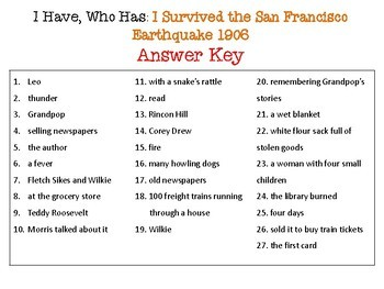 I Survived the San Francisco Earthquake I Have Who Has Reading Comprehension