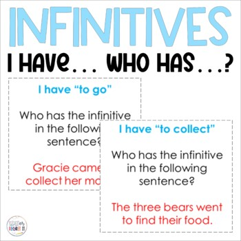 Infinitives (Verbals)  I Have, Who Has Game