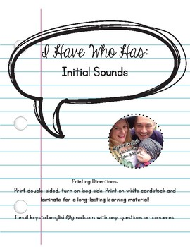 I Have Who Has: Initial Sounds