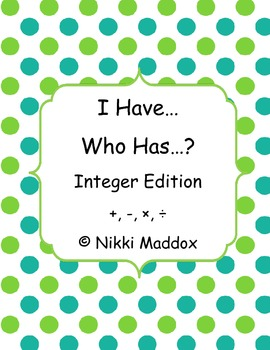 I Have... Who Has...? Integer Game
