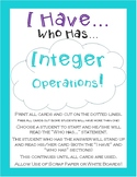 I Have, Who Has... Integer Operations