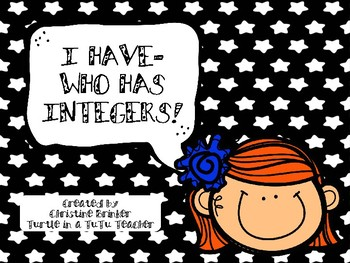 I Have Who Has Integers     20 Cards To Review As A Class