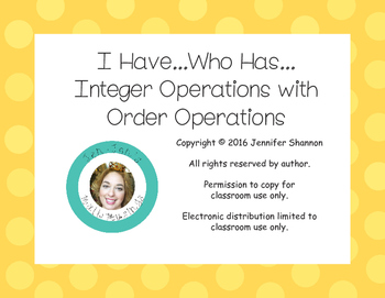 I Have Who Has Integers All Operations