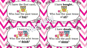I Have, Who Has Irregular Past Tense Verbs (Valentine Owl Themed)