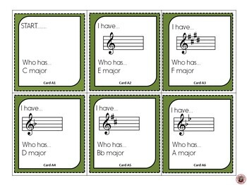 MUSIC GAME: I Have.... Who Has... Key Signatures