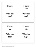 """""""I Have, Who Has"""" Kindergarten High-Frequency Word Game *Editable"""