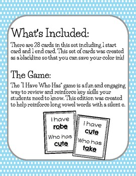 I Have Who Has LONG VOWELS-SILENT E Game (BLACKLINE)
