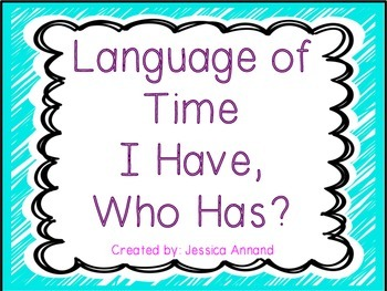 I Have Who Has Language of Time Quarter past Half Past