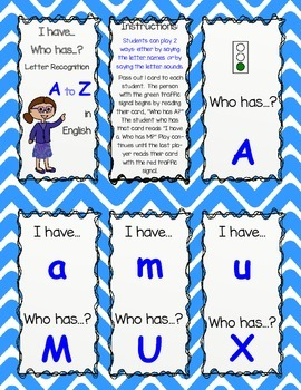 I Have Who Has Letters and Sounds in English
