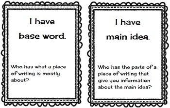 I Have Who Has?  Literacy Terms Game
